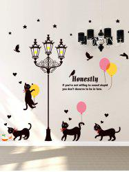 Street Light Cats Cartoon Vinyl Wall Sticker