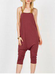 Backless Cami Harem Jumpsuit - WINE RED