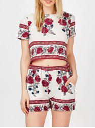 High Waist Shorts with Floral Crop Top - WHITE XL