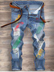 Cuffed Splatter Paint Jeans