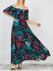 Off Shoulder Maxi Print Swing Capelet Dress - PURPLISH BLUE