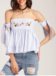 Floral Embroidered Off The Shoulder Blouse - BLUE
