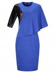 Plus Size Block Panel Overlay Sheath Midi Work Dress