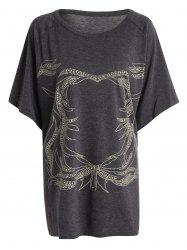 Plus Size Dolman Sleeve Graphic Tunic T-Shirt