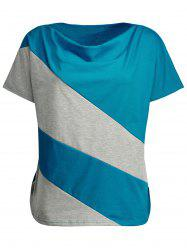 Plus Size Cowl Neck Color Block Top