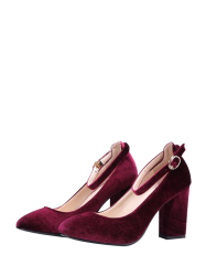 Velvet Ankle Strap Pumps