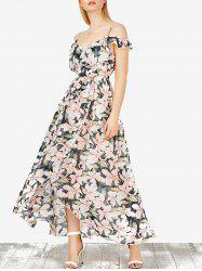 Floral Slit Maxi Cold Shoulder Bohemian Dress - COLORMIX