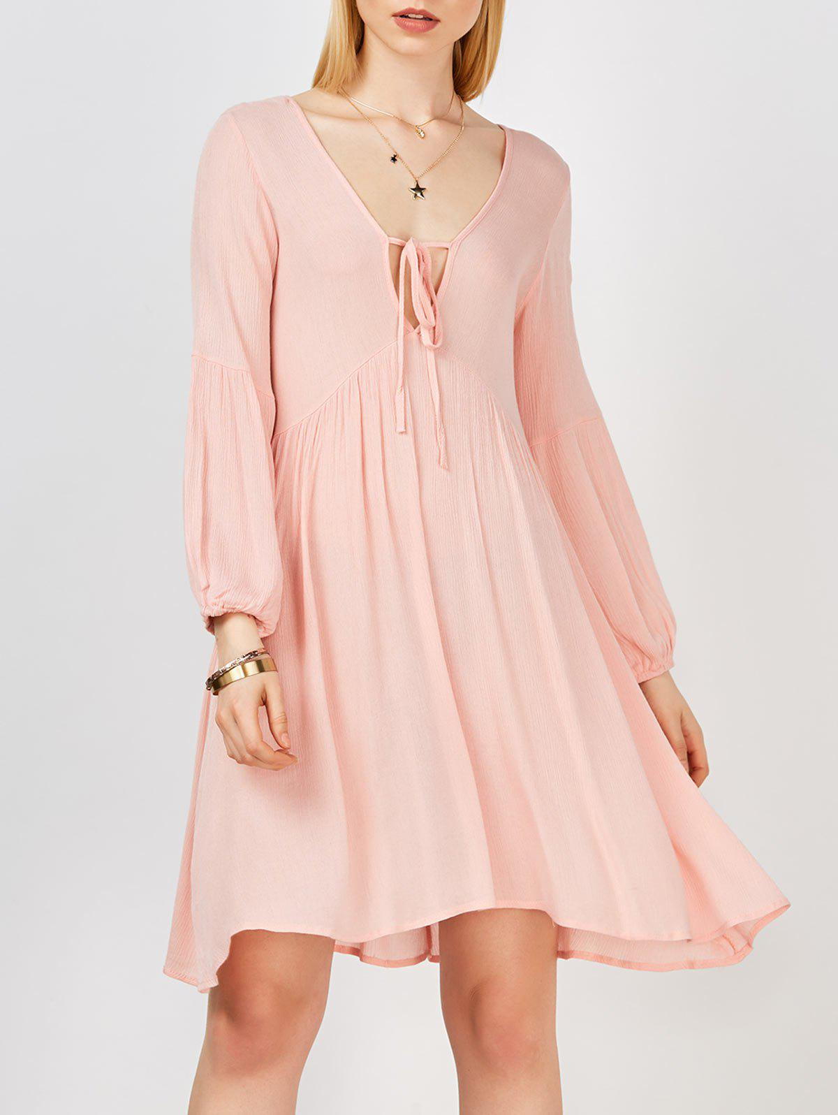 Shops Plunging Neck Self Tie Crinkled Casual Dress For Summer