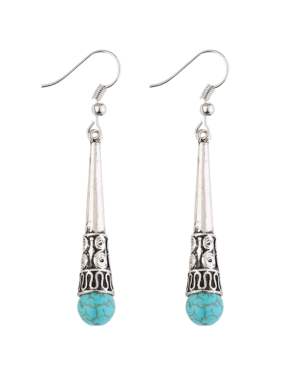 Column Carved Bohemian Artificial Turquoise Drop EarringsJEWELRY<br><br>Color: SILVER; Earring Type: Drop Earrings; Gender: For Women; Metal Type: Alloy; Style: Trendy; Shape/Pattern: Others; Weight: 0.0300kg; Package Contents: 1 x Earrings(Pair);