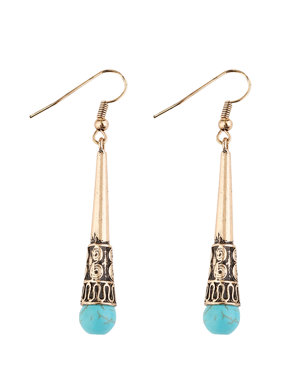 Column Carved Bohemian Artificial Turquoise Drop EarringsJEWELRY<br><br>Color: GOLDEN; Earring Type: Drop Earrings; Gender: For Women; Metal Type: Alloy; Style: Trendy; Shape/Pattern: Others; Weight: 0.0300kg; Package Contents: 1 x Earrings(Pair);