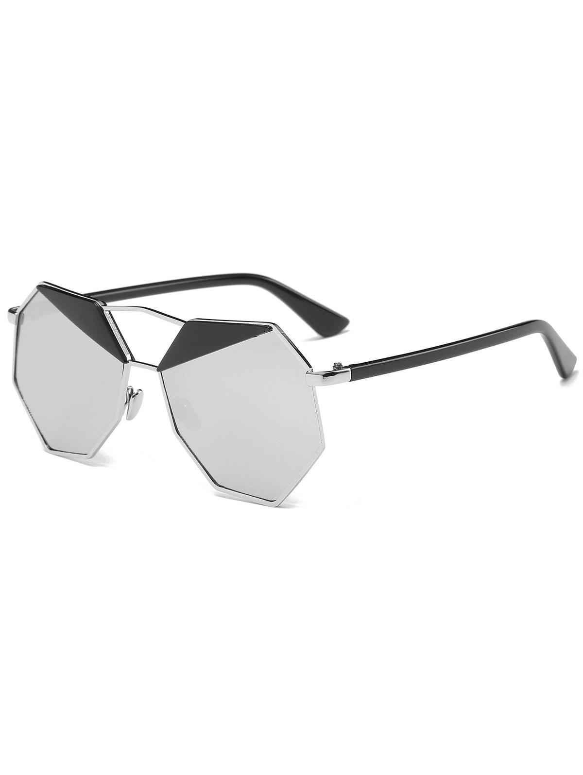 Cheap Metal Crossbar Mirrored Irregular Polygon Sunglasses