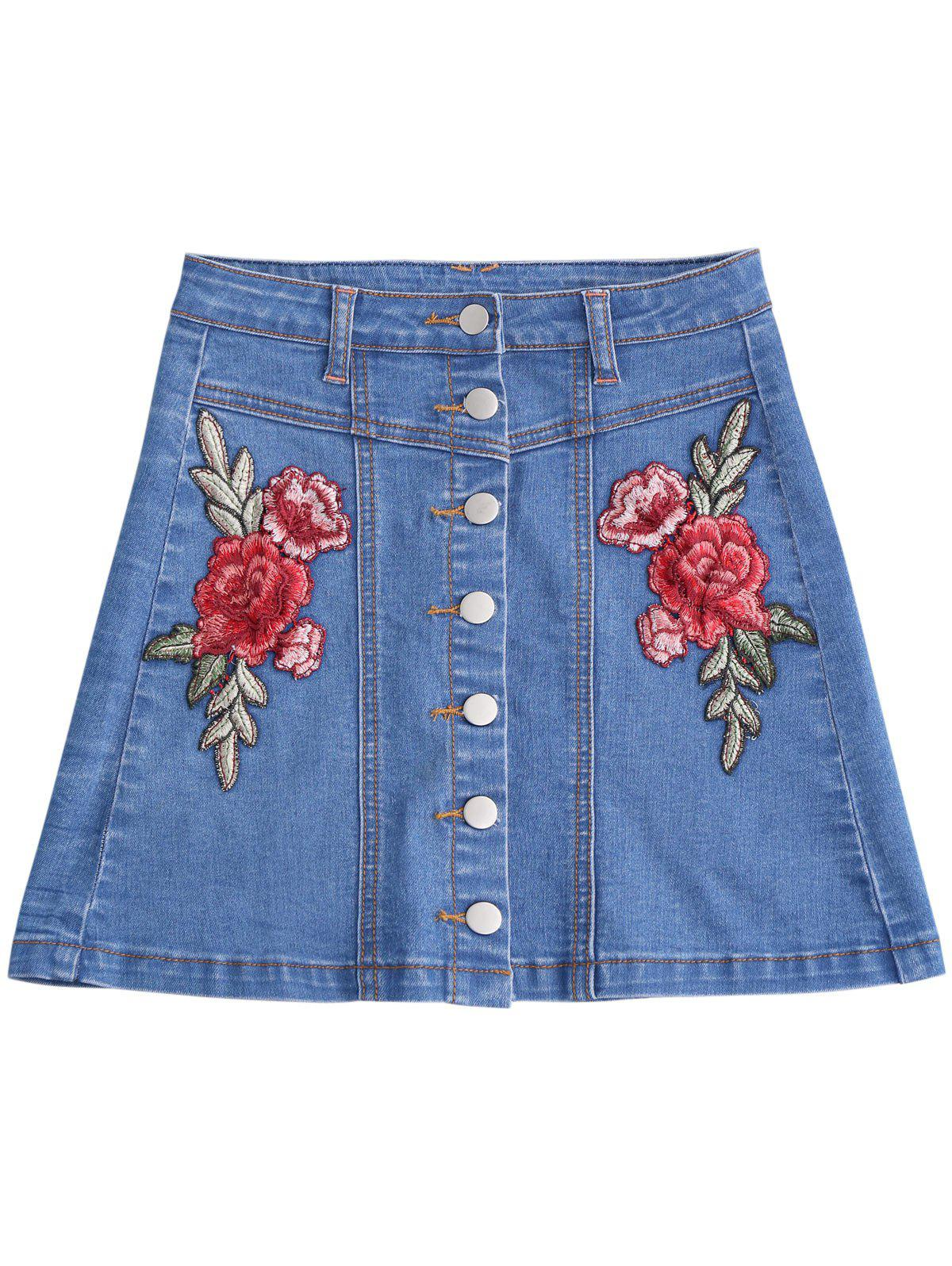 Outfit Button Up Patched Floral Jean Skirt
