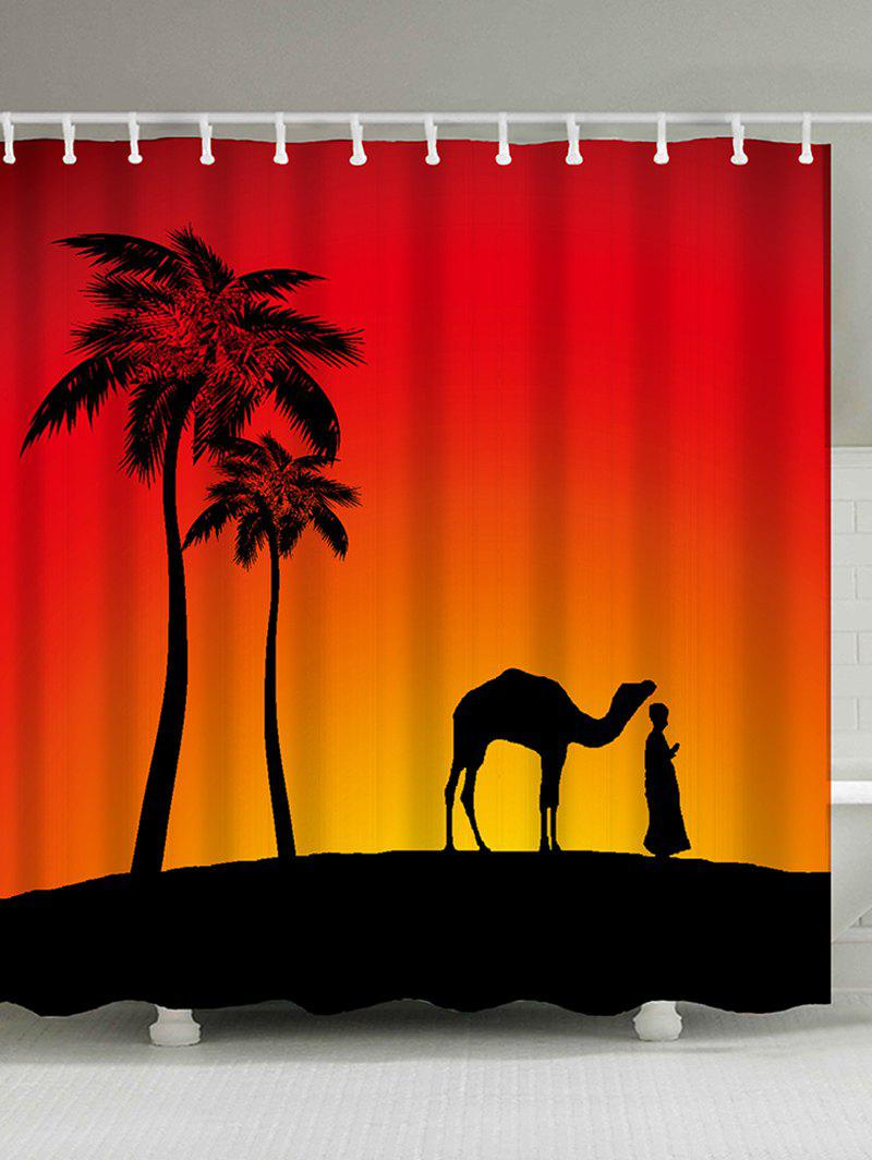 Outfit Camel Palm Tree Shadow Polyester Shower Curtain