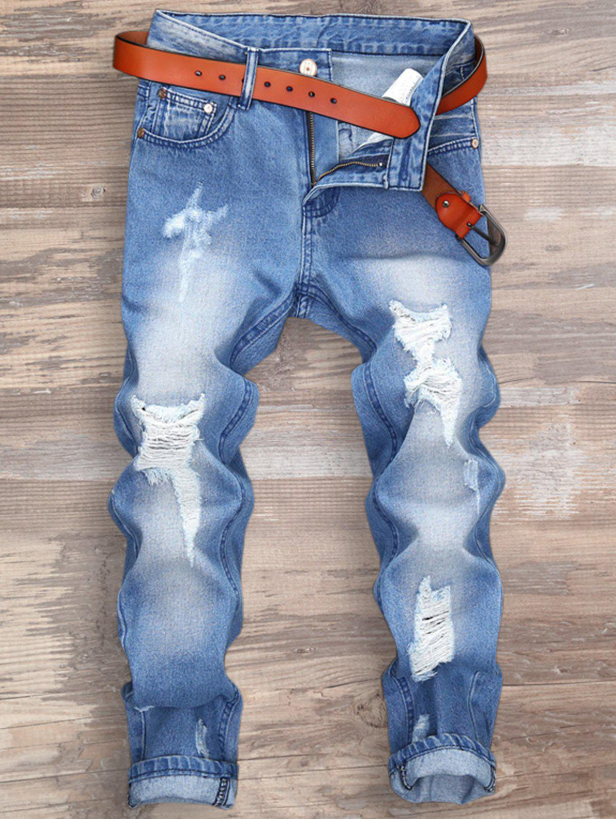 Zipper Fly Distressed Nine Minutes of JeansMEN<br><br>Size: 36; Color: LIGHT BLUE; Material: Cotton,Polyester; Pant Length: Nine minutes of Pants; Fabric Type: Denim; Wash: Destroy Wash; Fit Type: Regular; Waist Type: Mid; Closure Type: Zipper Fly; Weight: 0.4900kg; Package Contents: 1 x Jeans; With Belt: No;