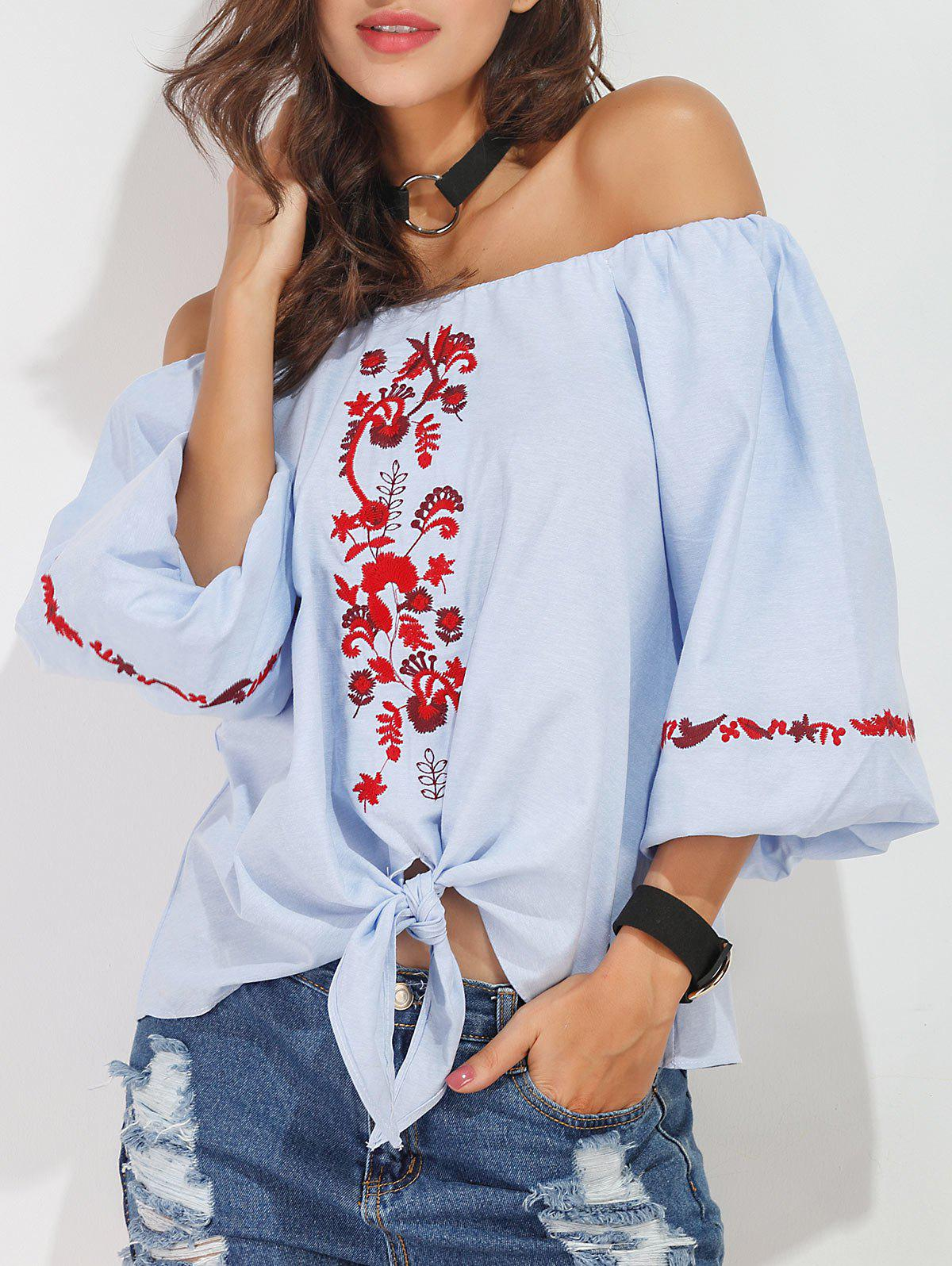 Outfits Off The Shoulder Embroidered Blouse