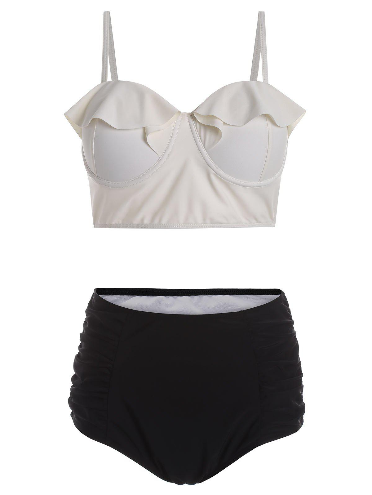 Discount Plus Size Bustier Bikini Top and High Waisted Bottoms