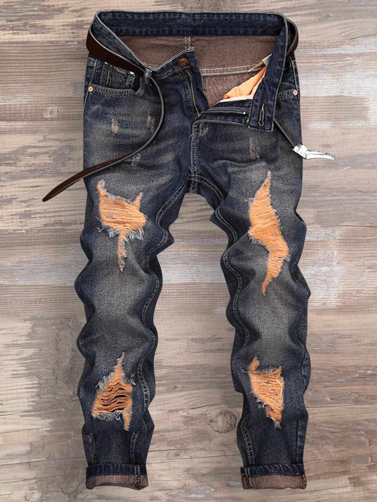 Shop Cuffed Ripped Design Nine Minutes of Jeans