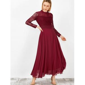 Maxi Ruffled Lace Chiffon Long Sleeve Flowing Prom Dress - WINE RED XL
