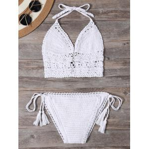 Unlined Halter Crochet Bikini Bathing Suit