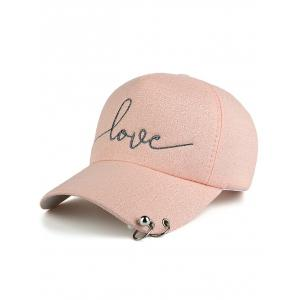 Letters Beads Metal Circle Embellished Baseball Hat - Pink - One Size