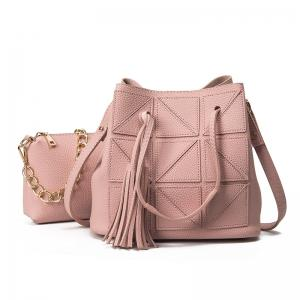 Geometric Tassel Chain Bucket Bag Set