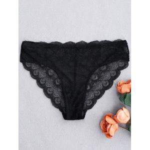 Mesh Lace Scalloped Panties - Black - One Size