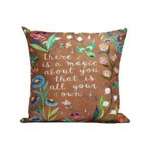 Flowers Letter Printed Throw Pillow Cover Case