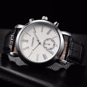 OUKESHI Faux Leather Strap Roman Numeral Watch - BLACK WHITE