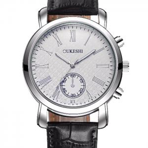 OUKESHI Faux Leather Strap Roman Numeral Watch - BLUE / BROWN