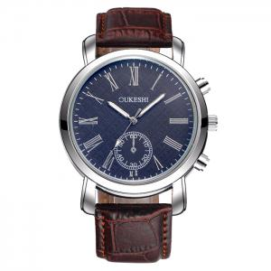 OUKESHI Faux Leather Strap Roman Numeral Watch