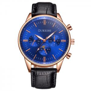 OUKESHI Faux Leather Band Number Quartz Watch - Blue