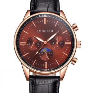 OUKESHI Faux Leather Band Number Quartz Watch - BLACK