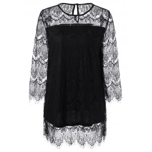 Sheer Lace Plus Size Blouse - Black - 4xl