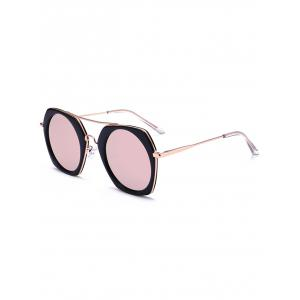 Geometric Reflective Polarized Sunglasses - Bright Black Frame+pink Mercury Lens