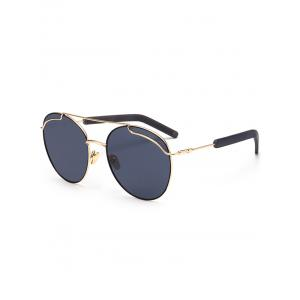 Metal Crossbar Polarized Sunglasses - Gold Frame + Black Lens