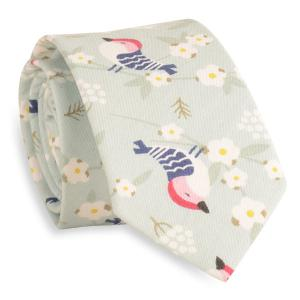 Cartoon Bird Floral Print Tie