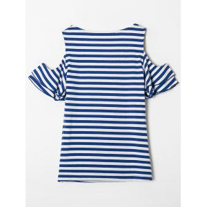 Cold Shoulder Flounce Striped Tee -