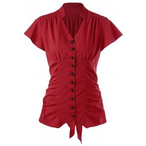 Ruched Button Up Tie Back Blouse