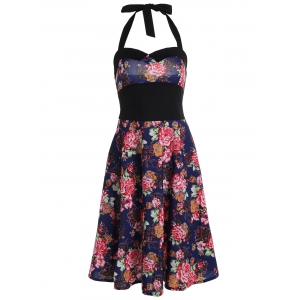 Halter Floral Going Out Swing Dress