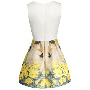 Floral Print Sleeveless Skater Dress - YELLOW L