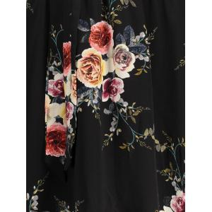Off The Shoulder Floral Chiffon Dress - BLACK 2XL