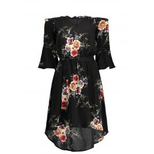Off The Shoulder Floral Chiffon Dress