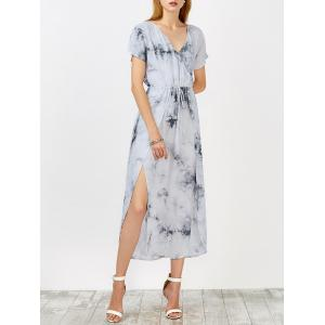 Tie Dye Drawstring High Slit Dress