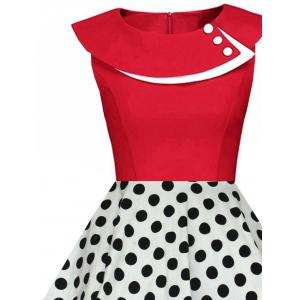 Polka Dot Swing Pin Up Dress - RED AND WHITE L