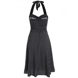 Halter Polka Dot Vintage Swing Dress - BLACK S