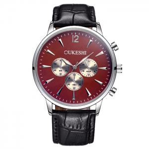 OUKESHI Faux Leather Strap Analog Qaurtz Watch - Black Red - L