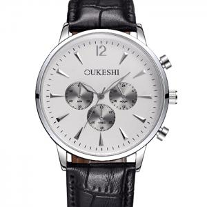 OUKESHI Faux Leather Strap Analog Qaurtz Watch -