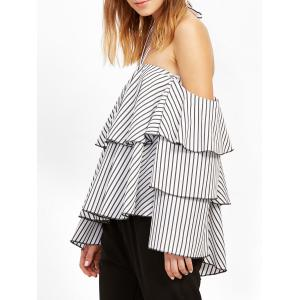 Striped Flounce Layer Halter Blouse - WHITE M
