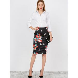 Floral High Waist Pencil Skirt -