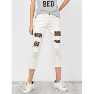 Mid Rise Distressed Fishnet Panel Jeans - White - M